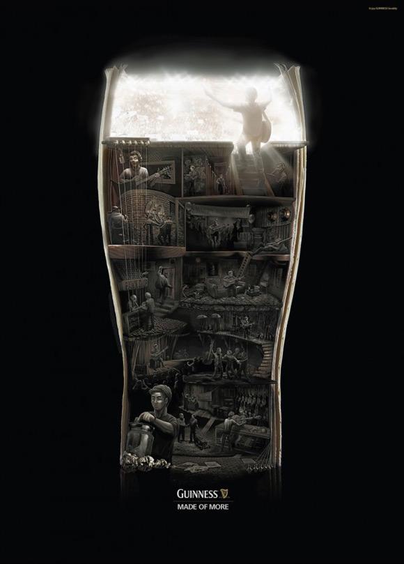 《黑色风格创意海报 Guinness啤酒广告创意》