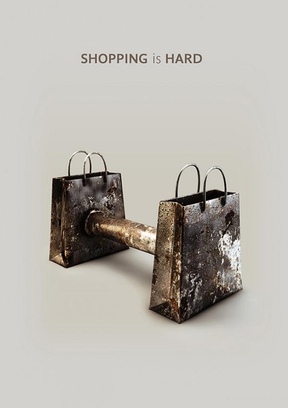 《哑铃为主题的创意海报设计》