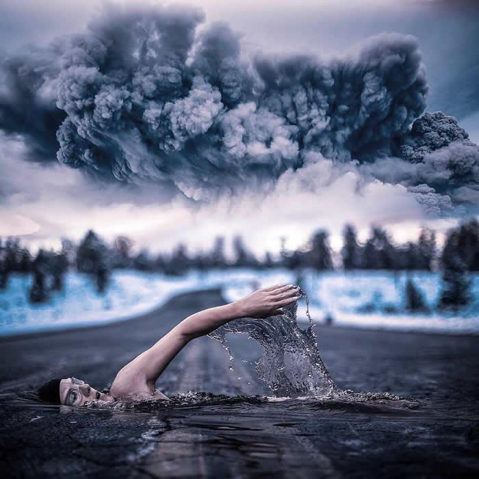 《茶杯与山的超现实和梦幻般的照片处理》