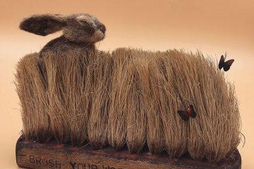 超强的手工物品毛刷与动物组成的趣味自然场景